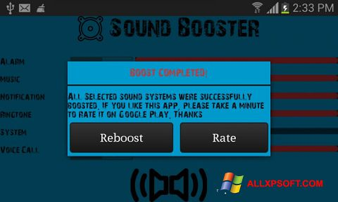 Snimak zaslona Sound Booster Windows XP