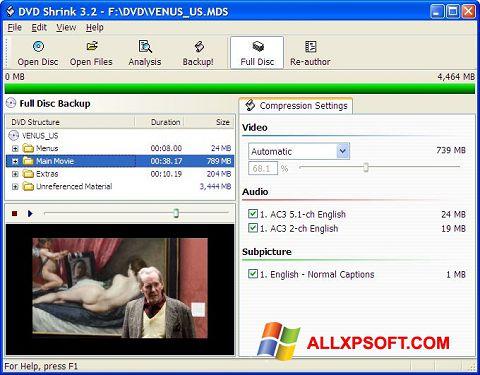 Snimak zaslona DVD Shrink Windows XP