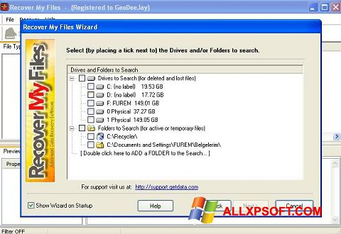 Snimak zaslona Recover My Files Windows XP