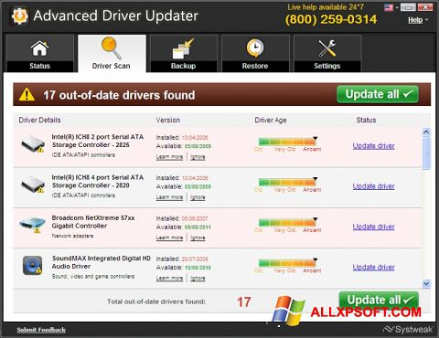 Snimak zaslona Advanced Driver Updater Windows XP