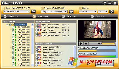 Snimak zaslona CloneDVD Windows XP