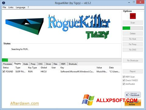 Snimak zaslona RogueKiller Windows XP