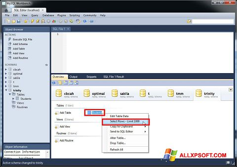 Snimak zaslona MySQL Workbench Windows XP