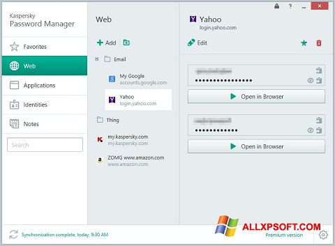 Snimak zaslona Kaspersky Password Manager Windows XP