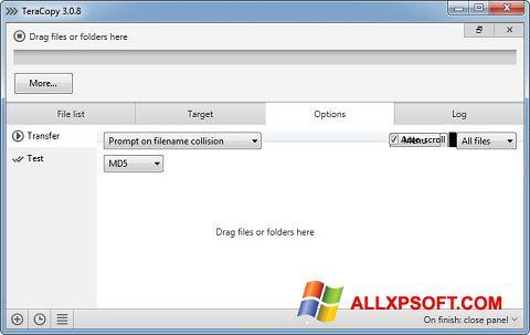 Snimak zaslona TeraCopy Windows XP