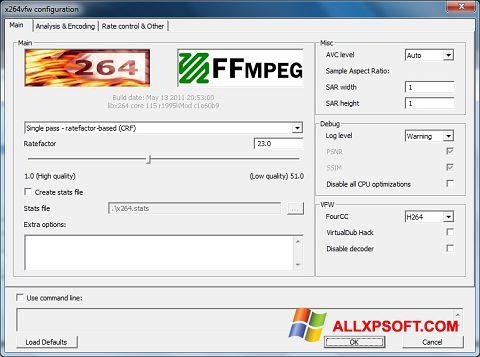 Snimak zaslona x264 Video Codec Windows XP