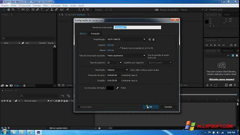 Snimak zaslona Adobe After Effects CC Windows XP