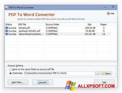 Snimak zaslona PDF to Word Converter Windows XP