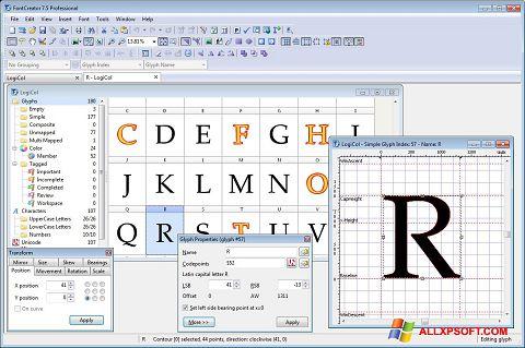 Snimak zaslona Font Creator Windows XP