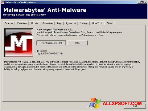 Snimak zaslona Malwarebytes Anti-Malware Free Windows XP