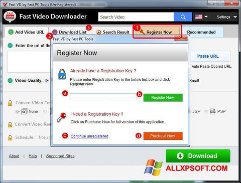 Snimak zaslona Fast Video Downloader Windows XP