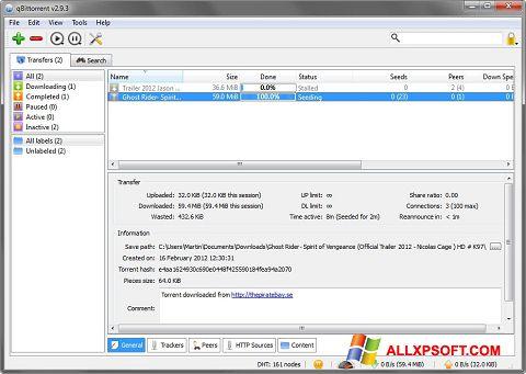 Snimak zaslona qBittorrent Windows XP