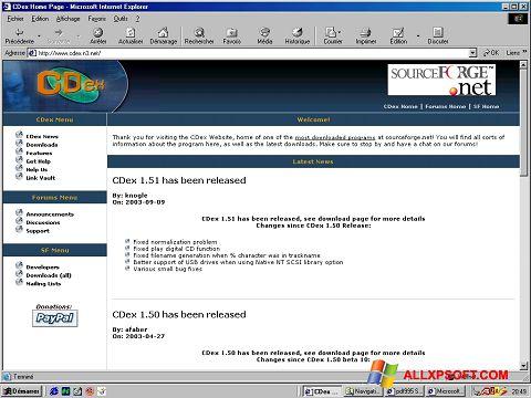 Snimak zaslona CDex Windows XP