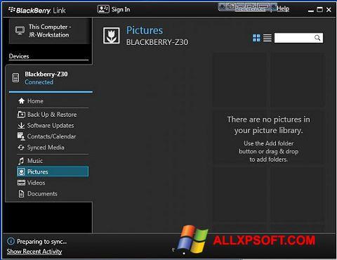 Snimak zaslona BlackBerry Link Windows XP