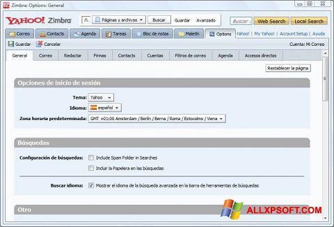 Snimak zaslona Zimbra Desktop Windows XP