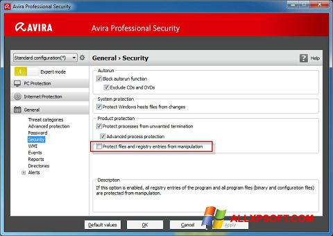 Snimak zaslona Avira Professional Security Windows XP