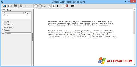 Snimak zaslona pdfFactory Pro Windows XP