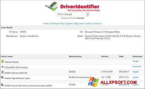 Snimak zaslona Driver Identifier Windows XP