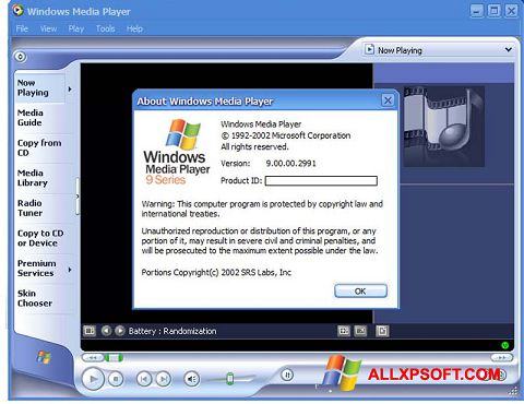 Snimak zaslona Windows Media Player Windows XP