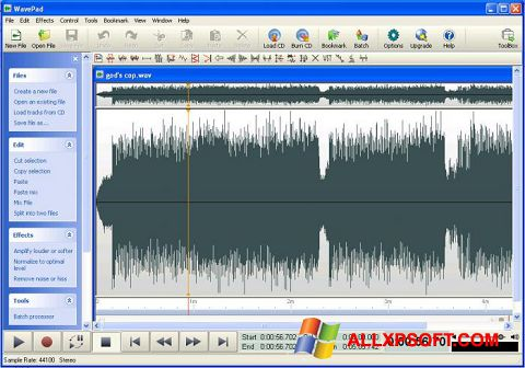 Snimak zaslona WavePad Sound Editor Windows XP