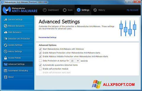 Snimak zaslona Malwarebytes Anti-Malware Windows XP