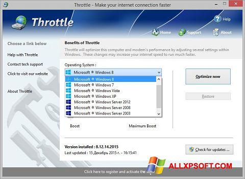 Snimak zaslona Throttle Windows XP