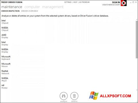 Snimak zaslona Driver Fusion Windows XP