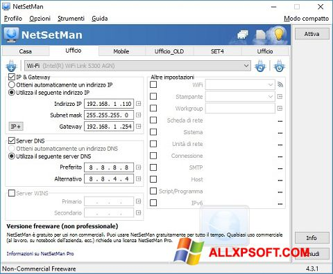 Snimak zaslona NetSetMan Windows XP