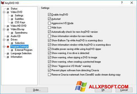 Snimak zaslona AnyDVD Windows XP