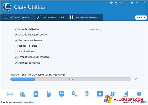 Snimak zaslona Glary Utilities Windows XP