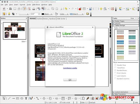 Snimak zaslona LibreOffice Windows XP