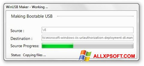 Snimak zaslona WinUSB Maker Windows XP