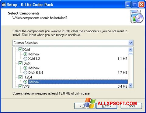 Snimak zaslona K-Lite Codec Pack Windows XP
