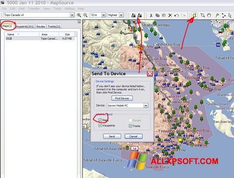 Snimak zaslona MapSource Windows XP