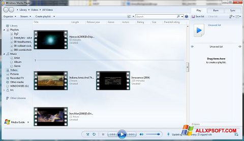 Snimak zaslona Media Player Windows XP
