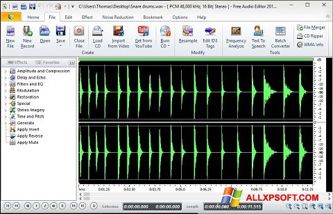 Snimak zaslona Free Audio Editor Windows XP