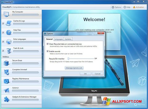 Snimak zaslona CleanMyPC Windows XP