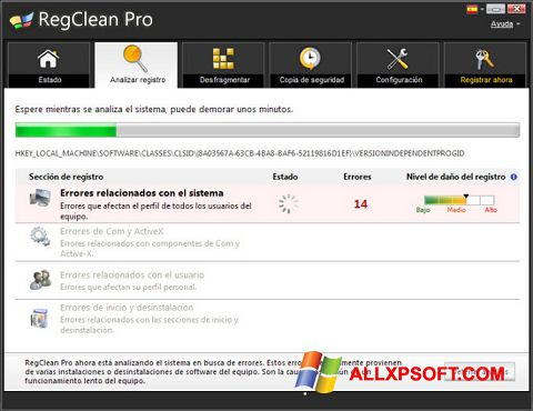 Snimak zaslona RegClean Pro Windows XP