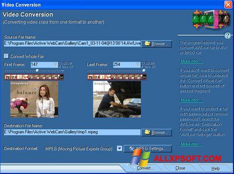 Snimak zaslona Active WebCam Windows XP