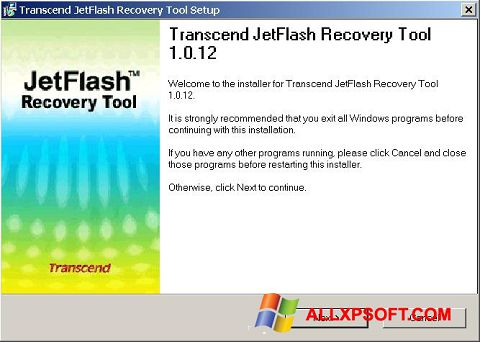 Snimak zaslona JetFlash Recovery Tool Windows XP