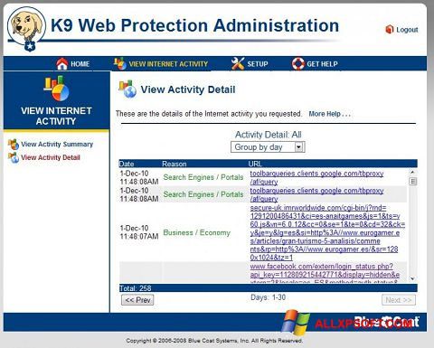 Snimak zaslona K9 Web Protection Windows XP
