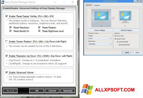 Snimak zaslona Easy Display Manager Windows XP