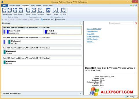Snimak zaslona Paragon Partition Manager Windows XP
