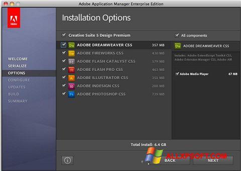 Snimak zaslona Adobe Application Manager Windows XP