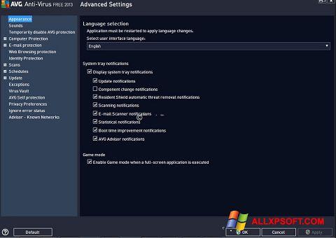 Snimak zaslona AVG Windows XP