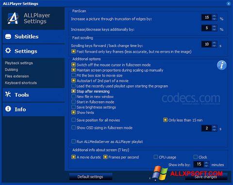 Snimak zaslona ALLPlayer Windows XP
