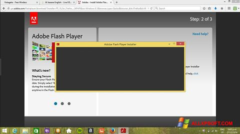 Snimak zaslona Adobe Flash Player Windows XP