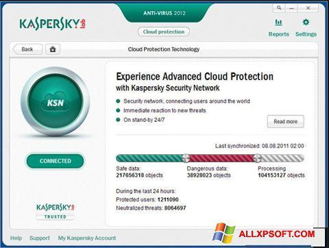Snimak zaslona Kaspersky Windows XP