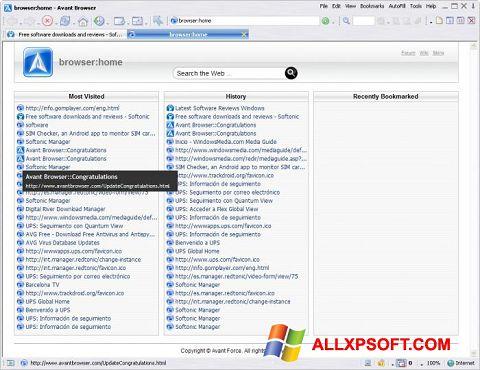 Snimak zaslona Avant Browser Windows XP
