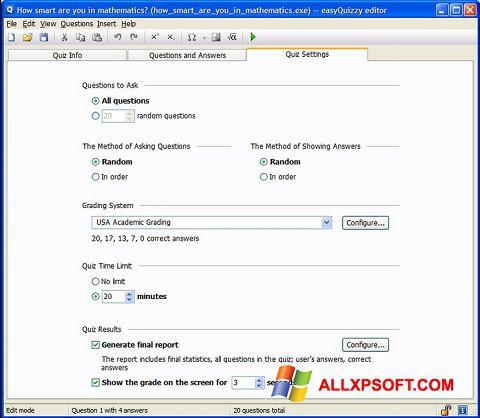 Snimak zaslona easyQuizzy Windows XP